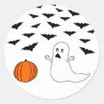 Ghost & Bats Halloween Round Sticker