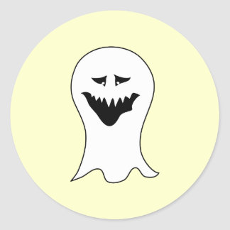 Ghost. Black and White. Classic Round Sticker