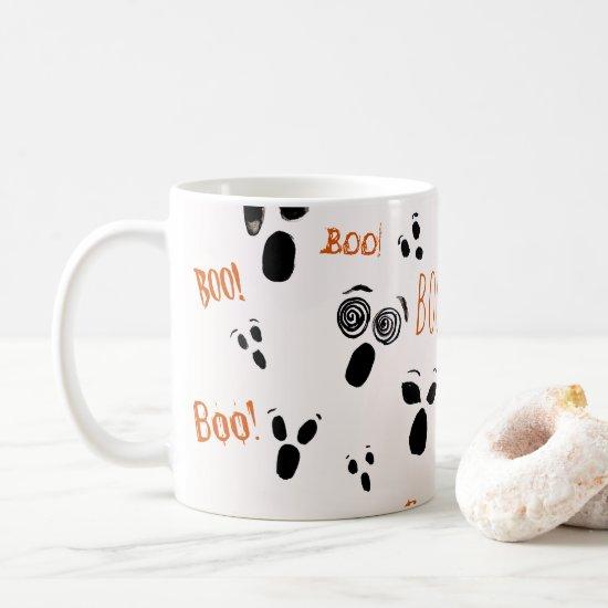 Ghost Boo Spooky Cute Modern Farmhouse Halloween Coffee Mug
