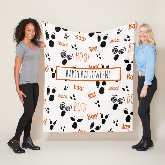 Ghost Boo Spooky Cute Modern Farmhouse Halloween Fleece Blanket