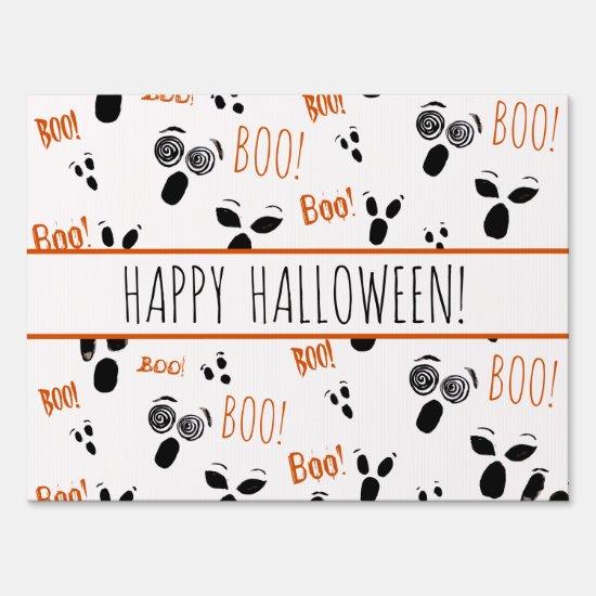Ghost Boo Spooky Simple Modern Farmhouse Halloween Lawn Sign