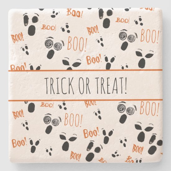 Ghost Boo Spooky Simple Modern Farmhouse Halloween Stone Coaster