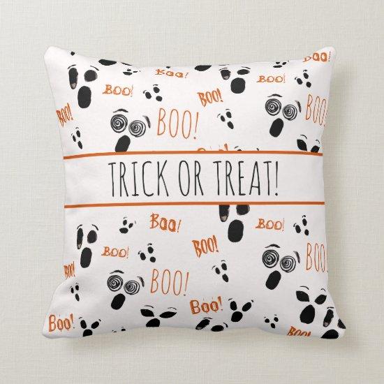 Ghost Boo Spooky Simple Modern Farmhouse Halloween Throw Pillow