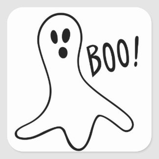 Ghost boo square stickers