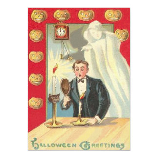 Ghost Candle Man Clock Jack O' Lantern Card