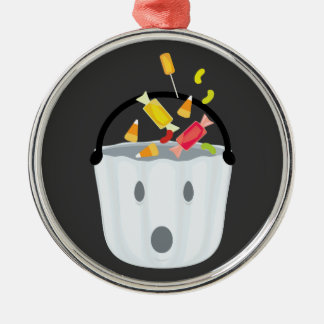 Ghost candy pail metal ornament