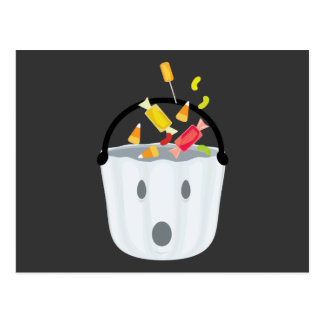 Ghost candy pail postcard