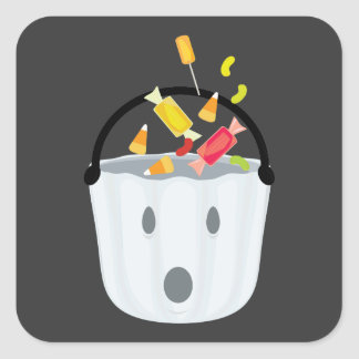 Ghost candy pail square sticker