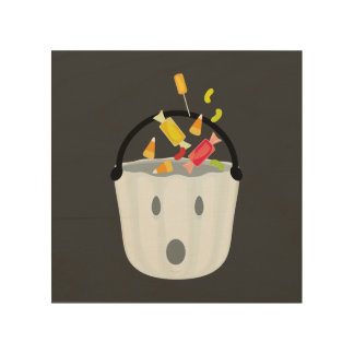 Ghost candy pail wood print