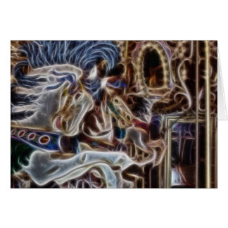 Ghost Carousel Horses Seattle Pier Merry Go Round Card