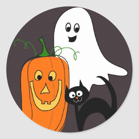 Ghost Cat and Pumpkin Halloween Stickers