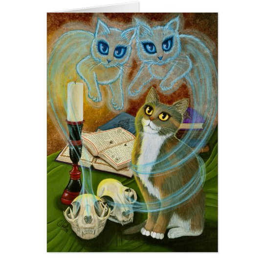 Ghost Cat Calico Witch Cat Art Greeting Card