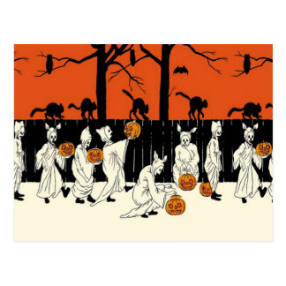 Ghost Costume Jack O Lantern Black Cat Owl Bat Postcard