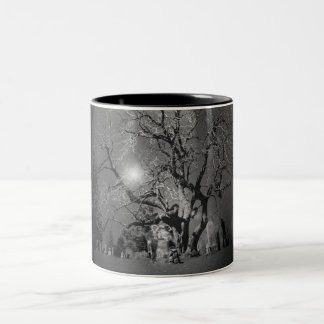 Ghost Couple in Cemetery Black and White Mug