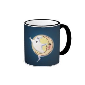 GHOST & CRESCENT MOON by SHARON SHARPE Ringer Mug
