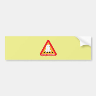 Ghost Crossing Sign - Yellow Background Bumper Stickers