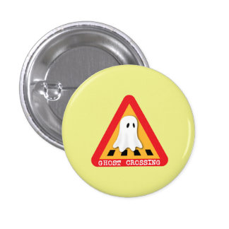 Ghost Crossing Sign - Yellow Background Pinback Button