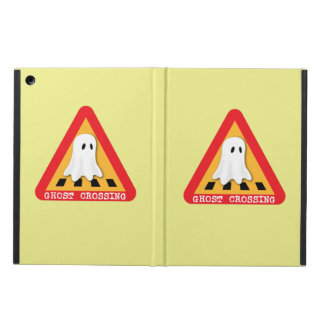 Ghost Crossing Sign - Yellow Background iPad Air Covers