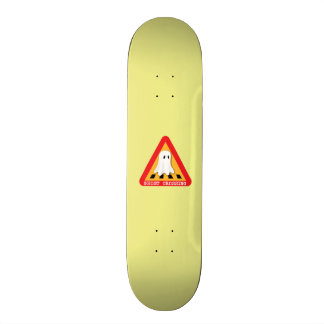 Ghost Crossing Sign - Yellow Background Skate Decks