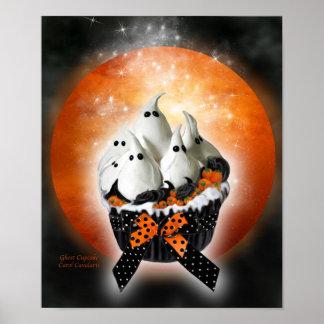 Ghost Cupcake Halloween Art Poster/Print
