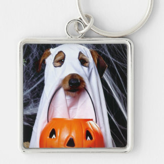 Ghost  dog - funny dog - dog halloween keychain