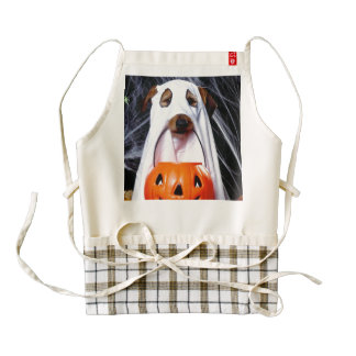 Ghost  dog - funny dog - dog halloween zazzle HEART apron