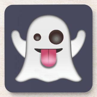 Ghost emoji beverage coaster