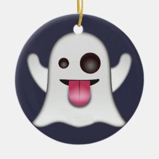Ghost emoji ceramic ornament