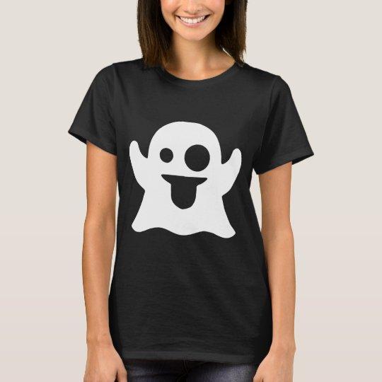 Fun Novelty Ladies Skinny Fit T-Shirt GHOST EMOJI SnapChat Style
