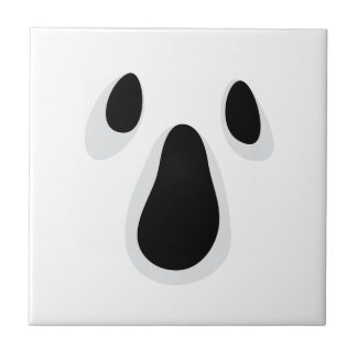 Ghost face with eyes and mouth ceramic tile