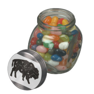 Ghost Flowers Embroidered Buffalo Glass Candy Jar
