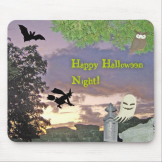 Ghost, Flying Witch & Owl For Halloween Night Mouse Pad