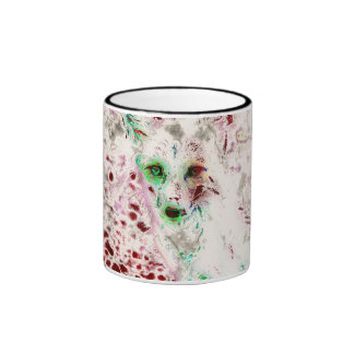 Ghost Fox Eyes Abstract Art Red and White Ringer Mug