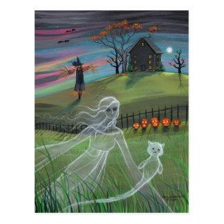 Ghost Friends Halloween Postcard