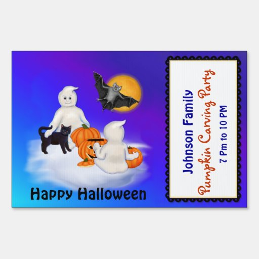 Ghost Friends Pumpkin Carving Party - Small Size Sign