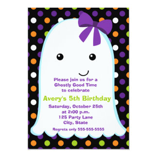Ghost Girl Halloween | Kids Halloween Birthday Card