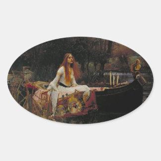 """Ghost Girl in the Lady of Shalott """"John Waterhouse Oval Sticker"""