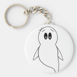 Ghost Gito the Penguin Basic Round Button Keychain