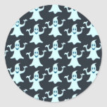 Ghost Glowing Dark Pattern Design Round Stickers