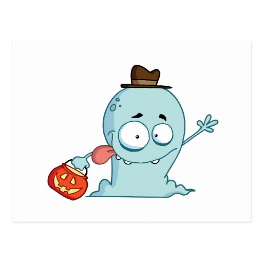 Ghost-goes-trick-or-treating Postcard