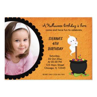 "Ghost Halloween Birthday 5"" X 7"" Invitation Card"