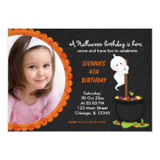 Ghost Halloween Birthday Card at Zazzle
