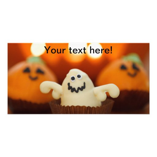 Ghost Halloween dessert Personalized Photo Card