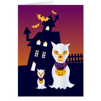 Ghost Halloween Dogs goes trick or treat Cards