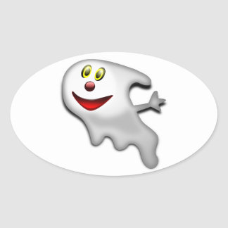 Ghost Halloween Image Oval Sticker