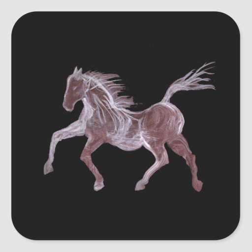 Ghost Horse Dancing Square Stickers