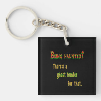 Ghost Hunter App For That (Black Background) Double-Sided Square Acrylic Keychain
