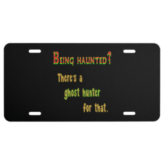 Ghost Hunter App For That (Black Background) License Plate