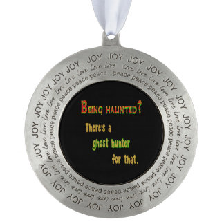 Ghost Hunter App For That (Black Background) Pewter Ornament