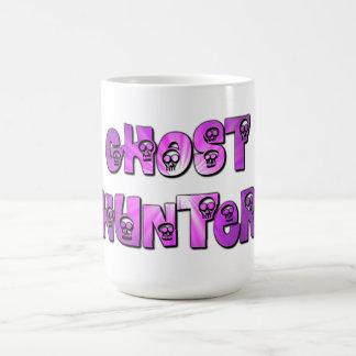 ghost hunter purple and white skulls mug